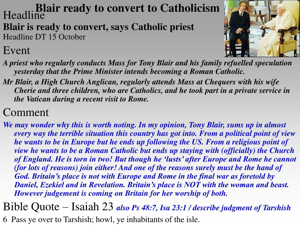 Blair ready to convert to Catholicism