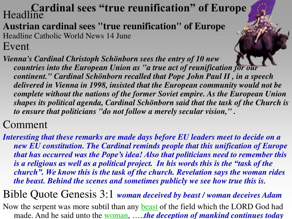 "Cardinal sees ""true reunification"" of Europe"