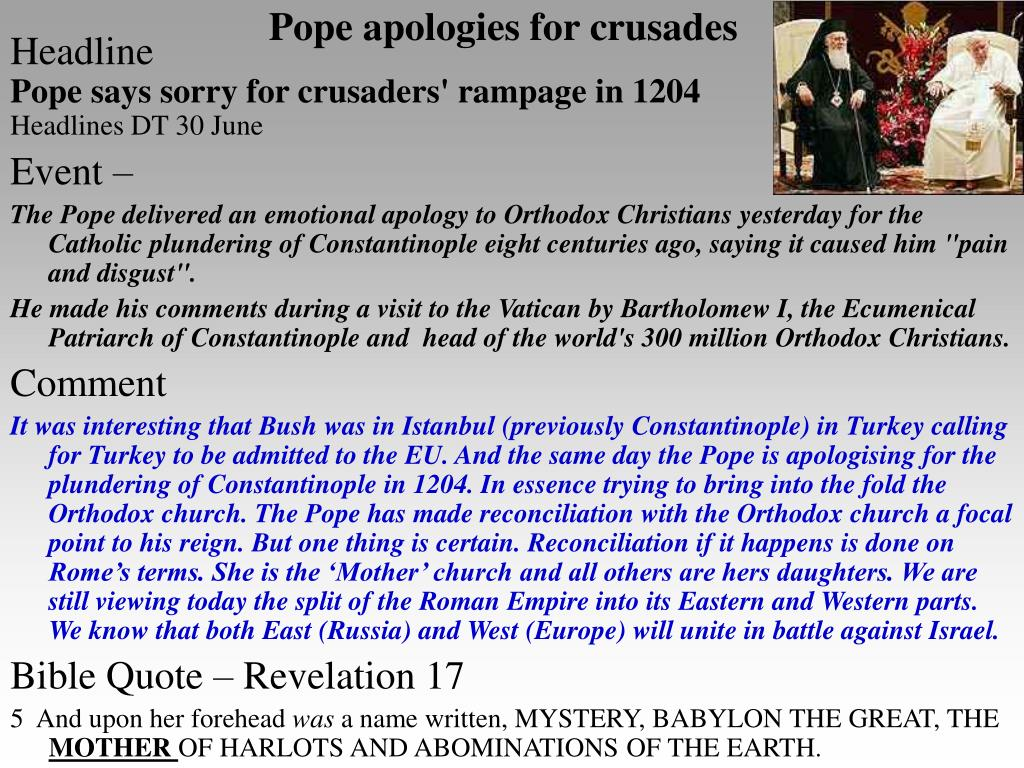 Pope apologies for crusades