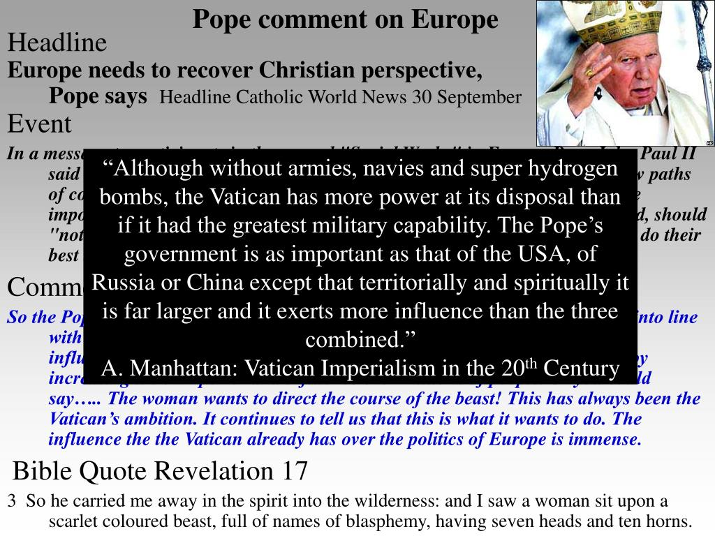 Pope comment on Europe