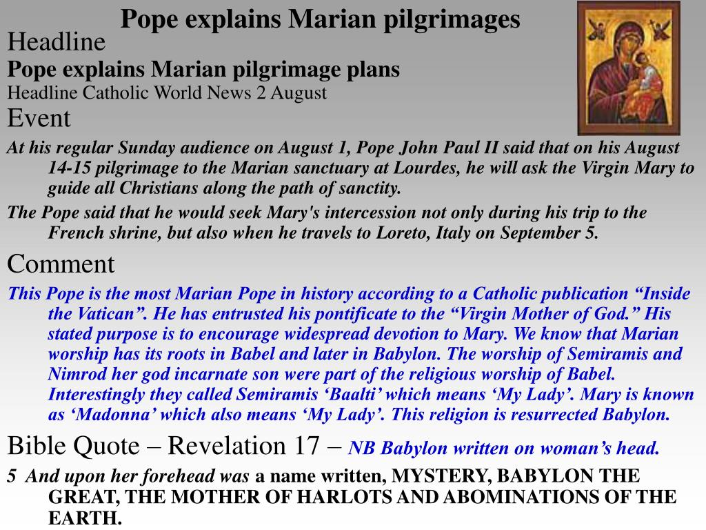 Pope explains Marian pilgrimages