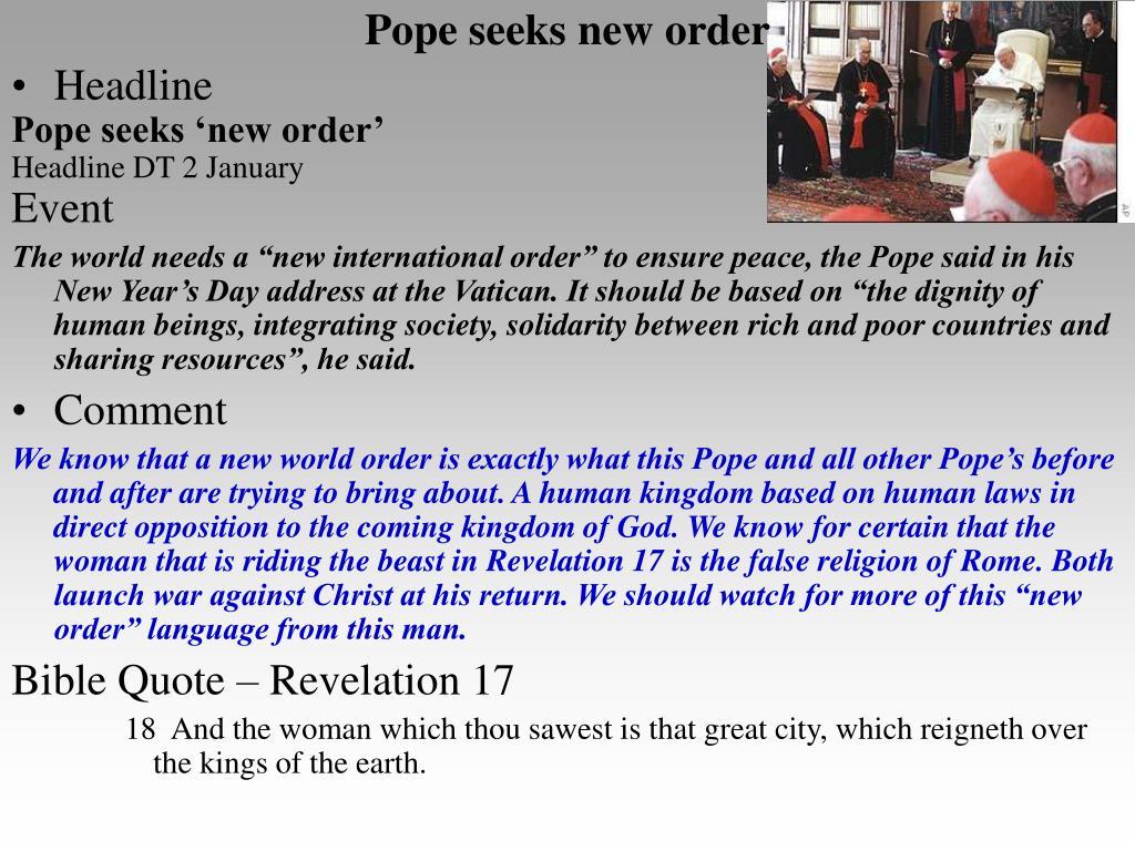 Pope seeks new order