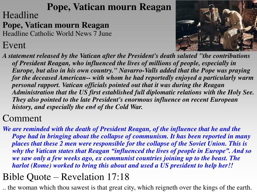 Pope, Vatican mourn Reagan