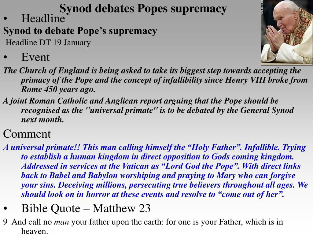 Synod debates Popes supremacy
