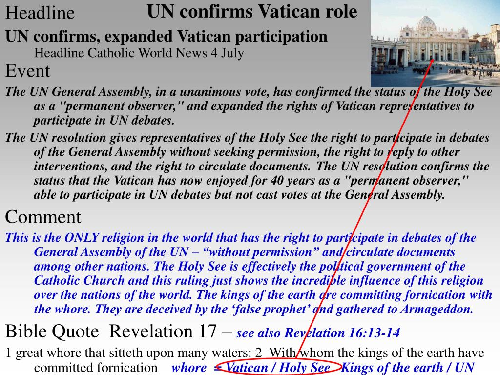 UN confirms Vatican role