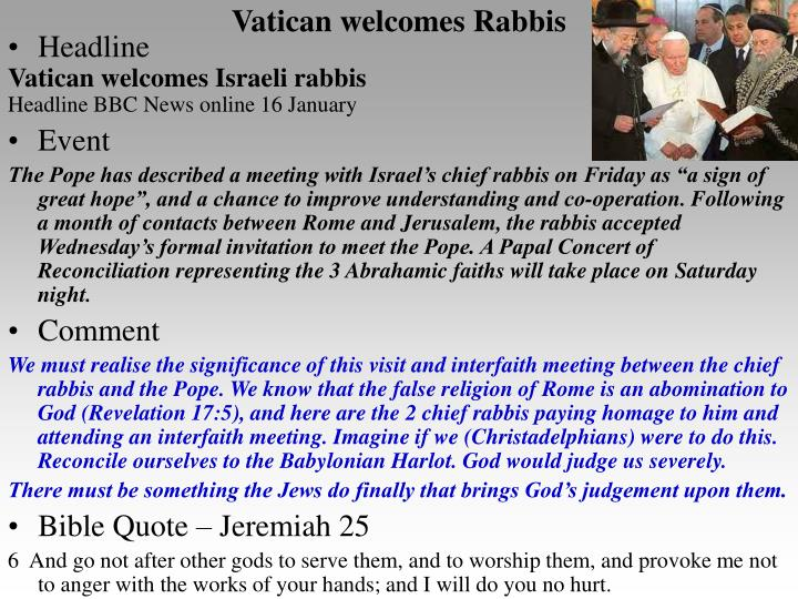 Vatican welcomes rabbis