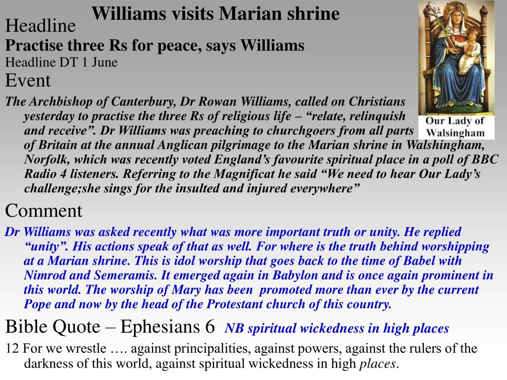 Williams visits Marian shrine