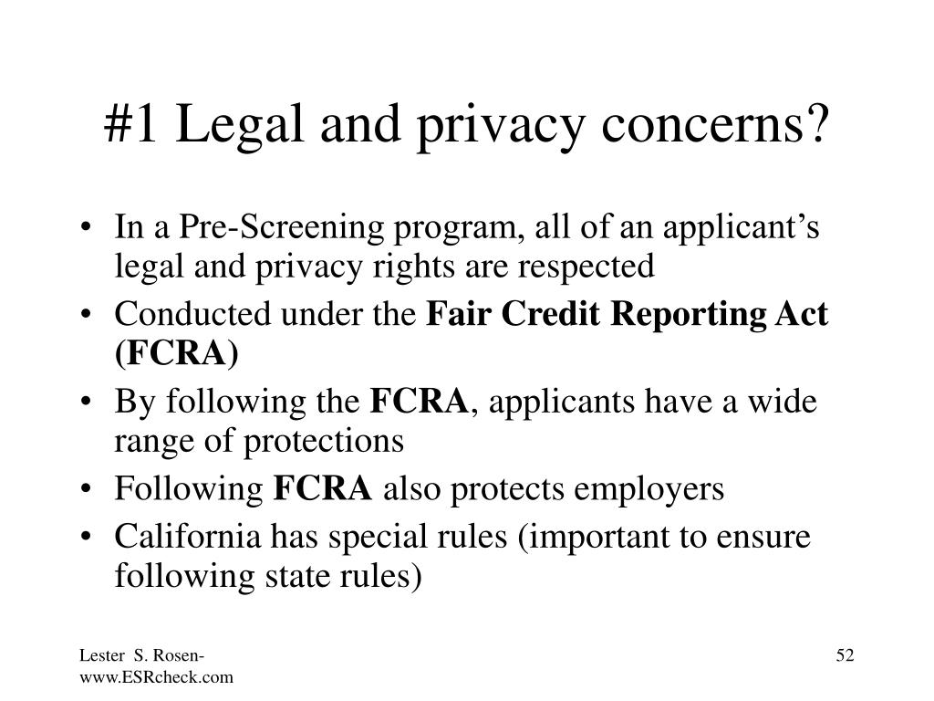 #1 Legal and privacy concerns?