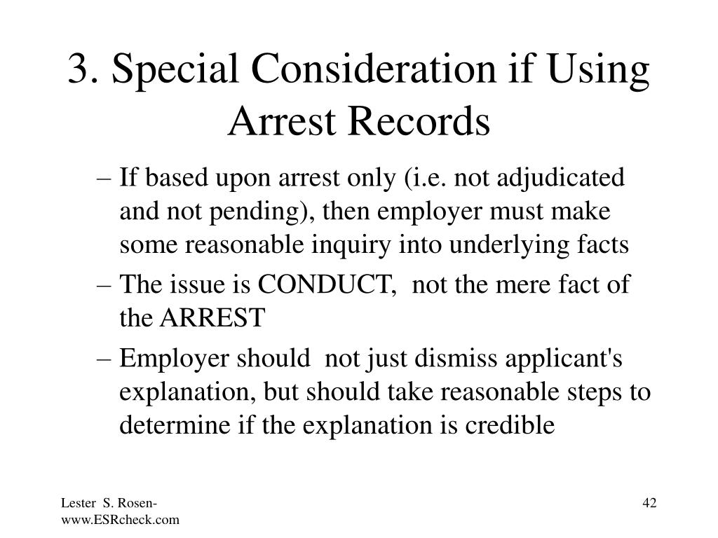 3. Special Consideration if Using Arrest Records