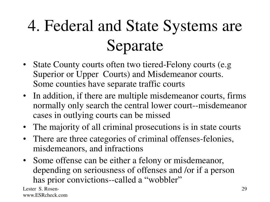4. Federal and State Systems are Separate