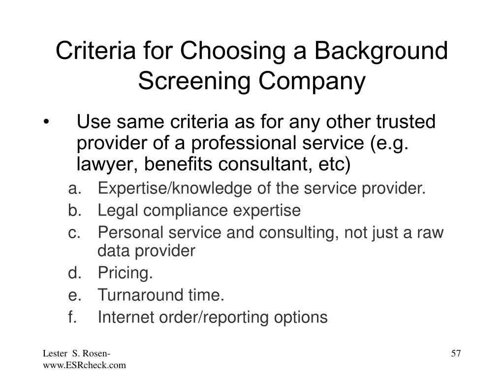 Criteria for Choosing a Background Screening Company