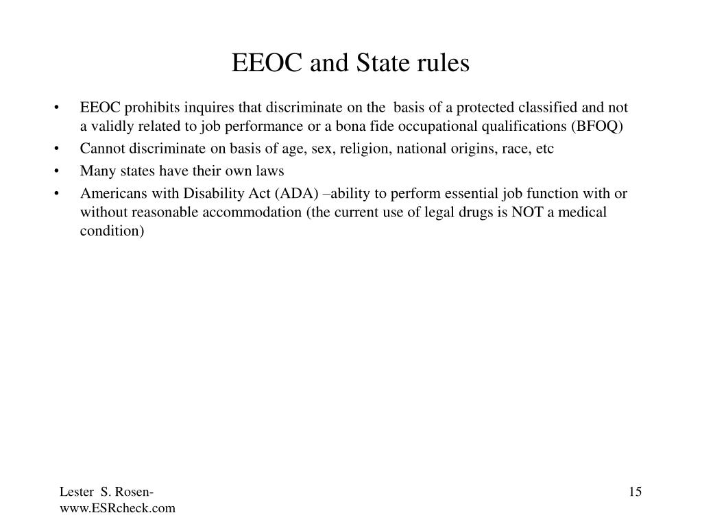 EEOC and State rules