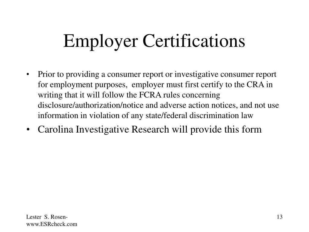 Employer Certifications