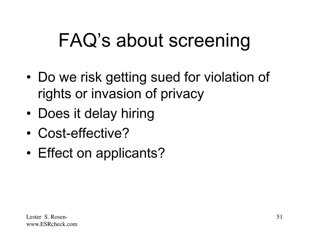 FAQ's about screening