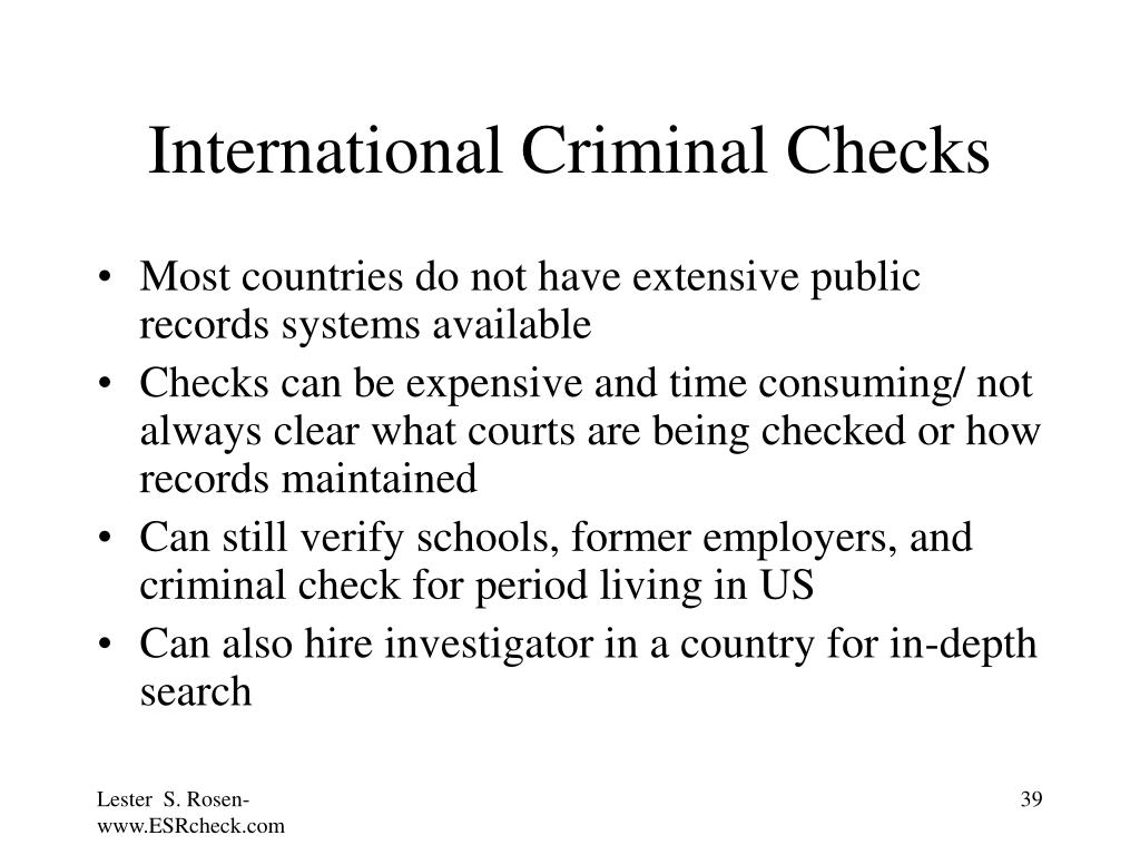 International Criminal Checks