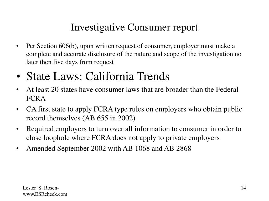 Investigative Consumer report