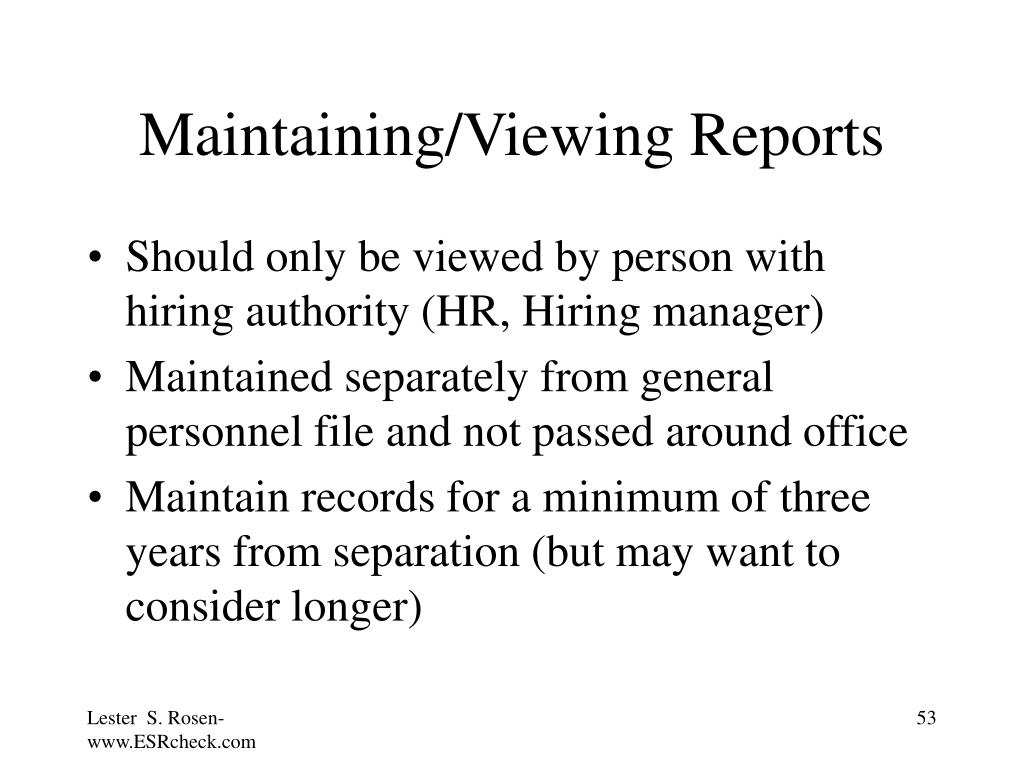 Maintaining/Viewing Reports