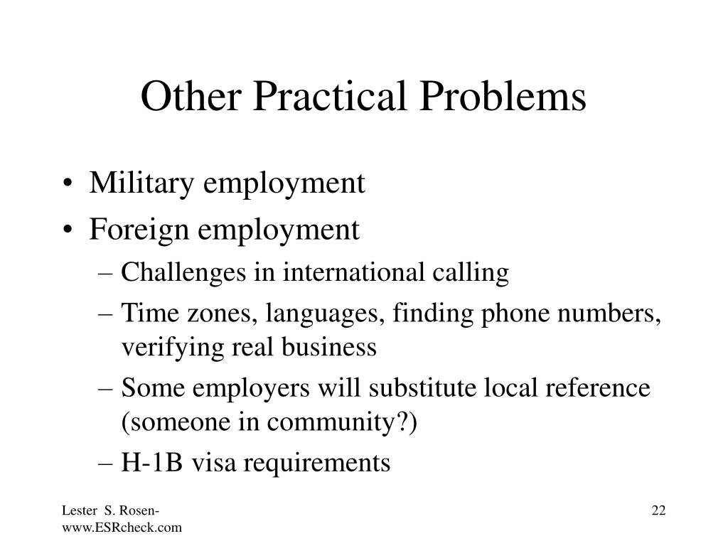 Other Practical Problems