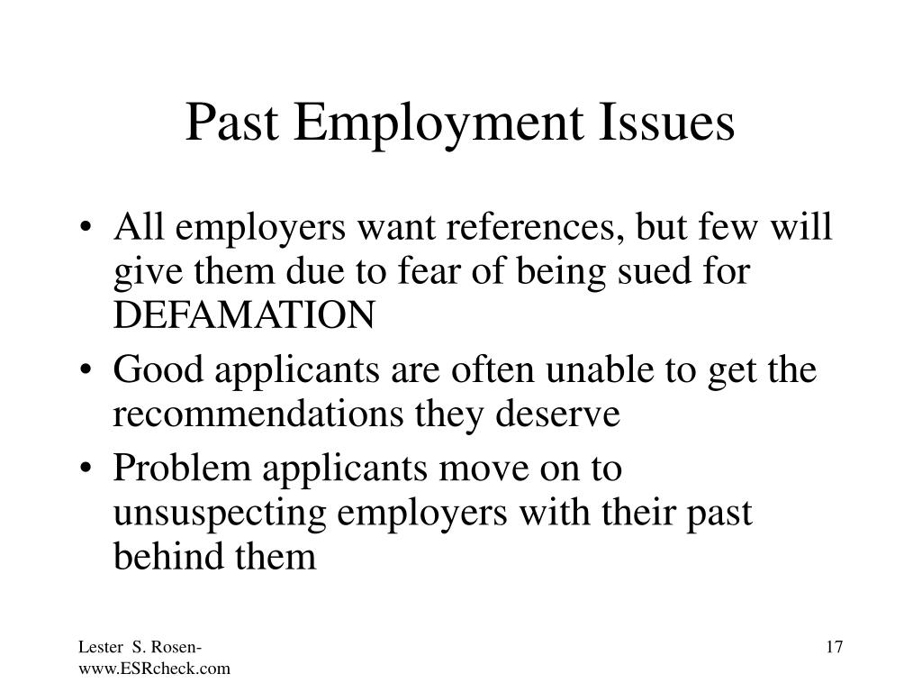 Past Employment Issues