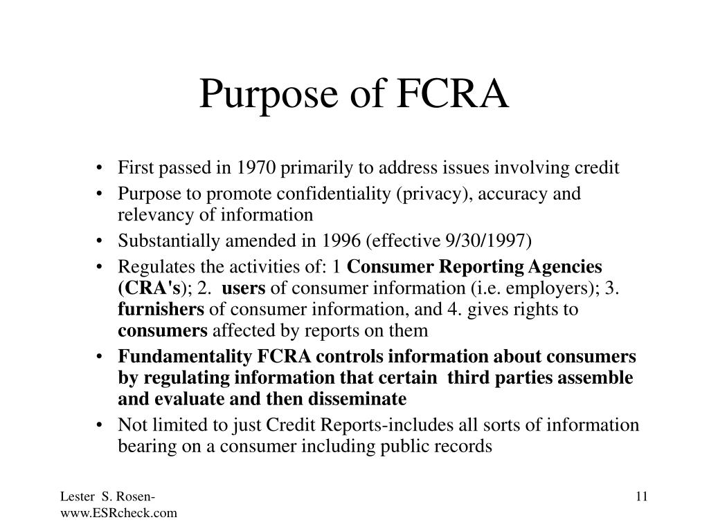 Purpose of FCRA