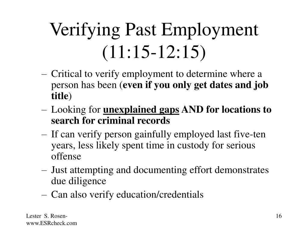 Verifying Past Employment (11:15-12:15)