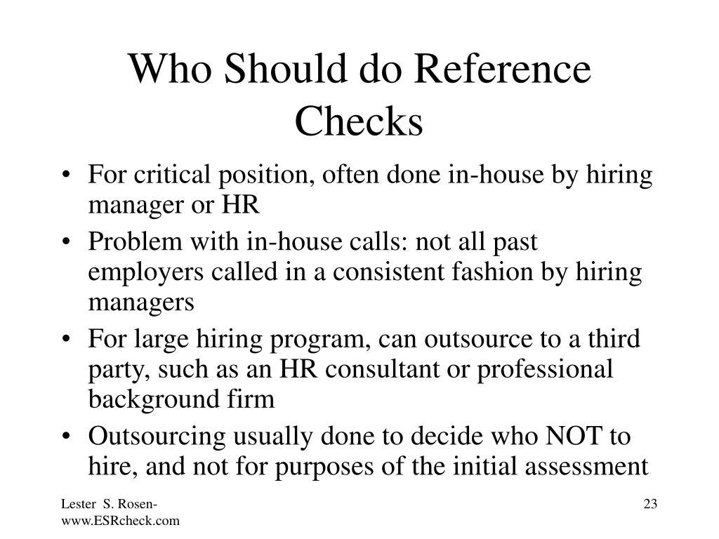 Who Should do Reference Checks