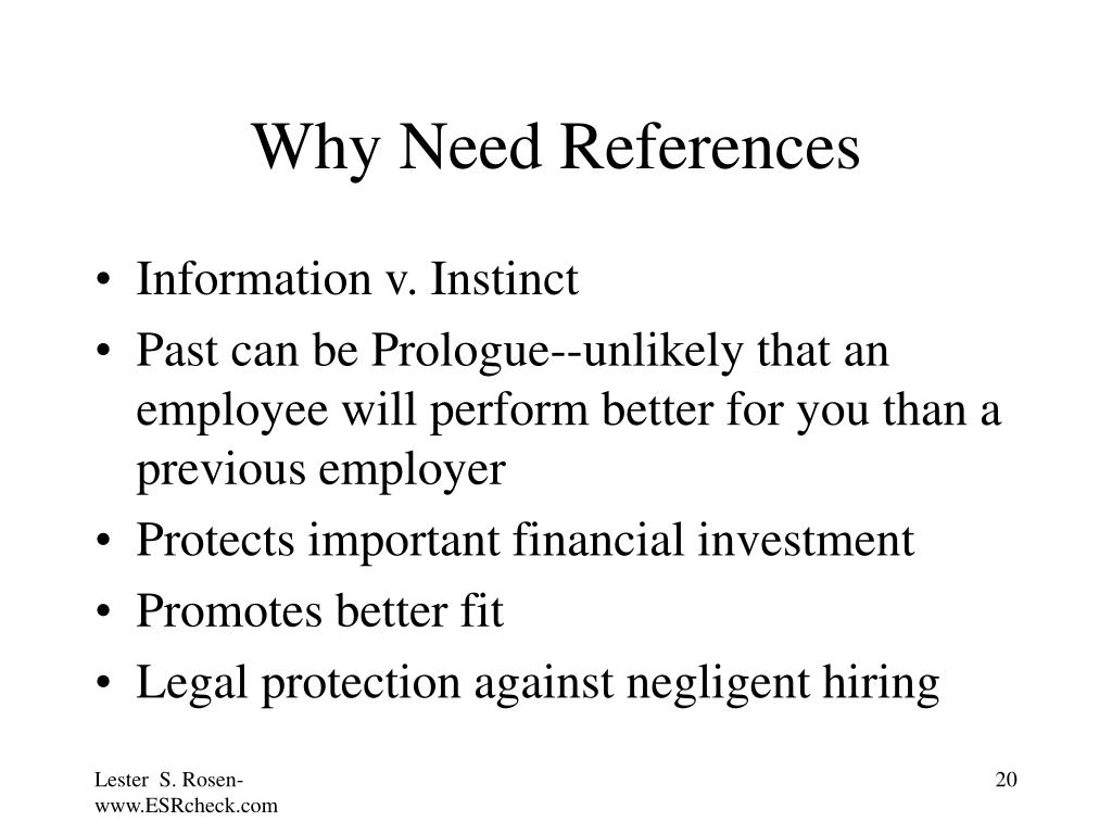 Why Need References