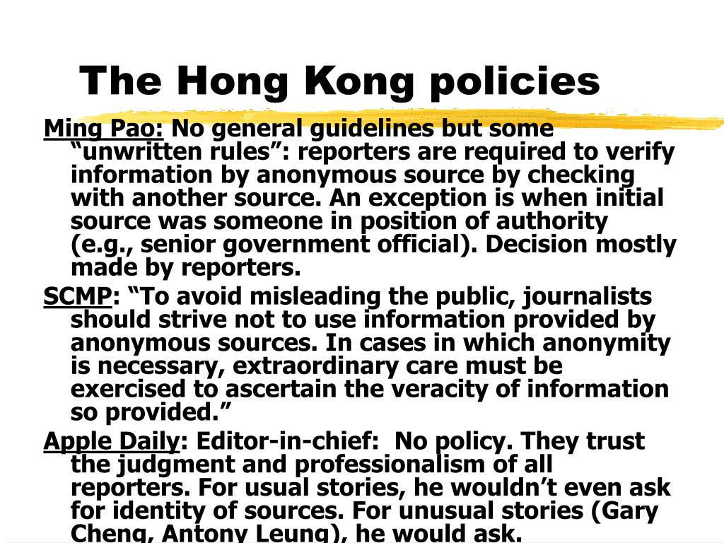 The Hong Kong policies