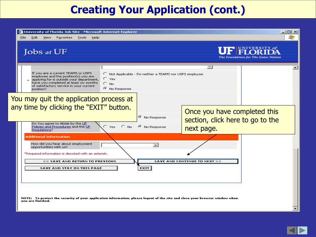 Creating Your Application (cont.)