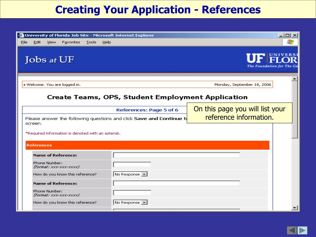 Creating Your Application - References