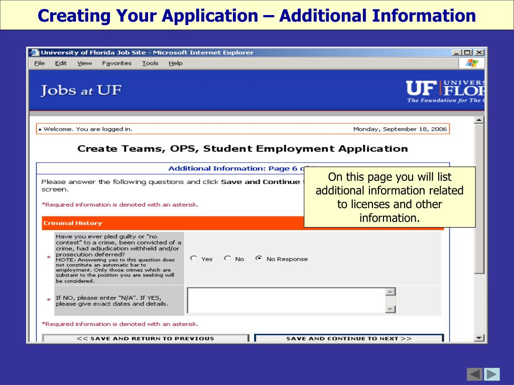 Creating Your Application – Additional Information