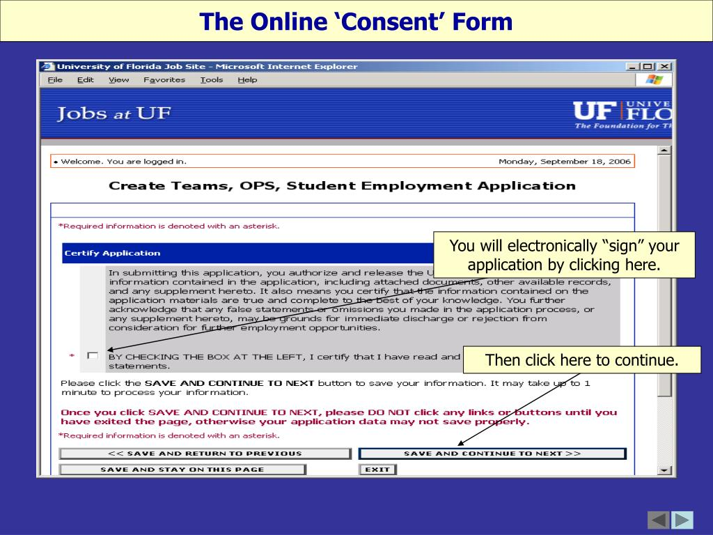 The Online 'Consent' Form