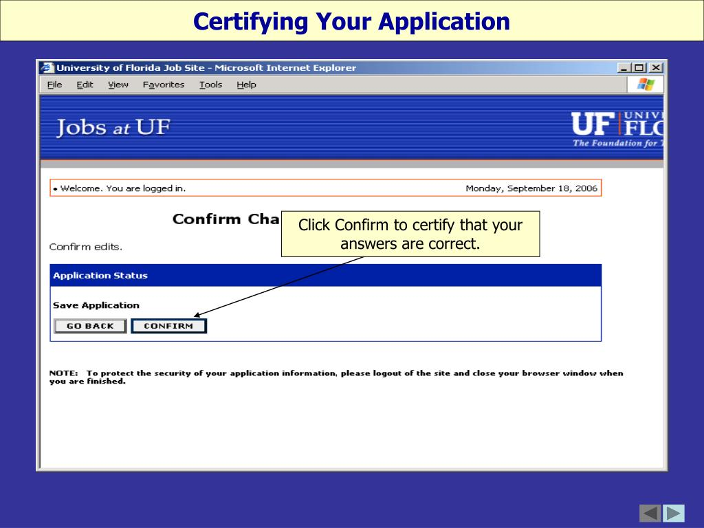 Certifying Your Application