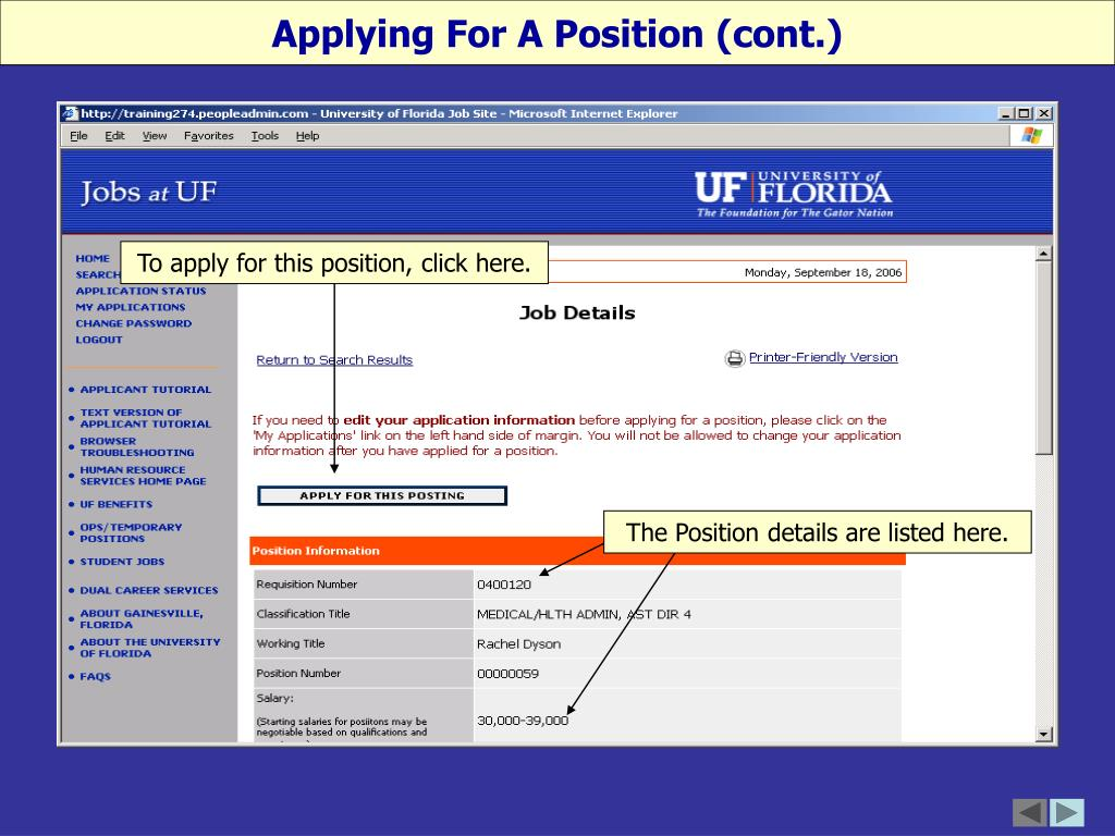Applying For A Position (cont.)