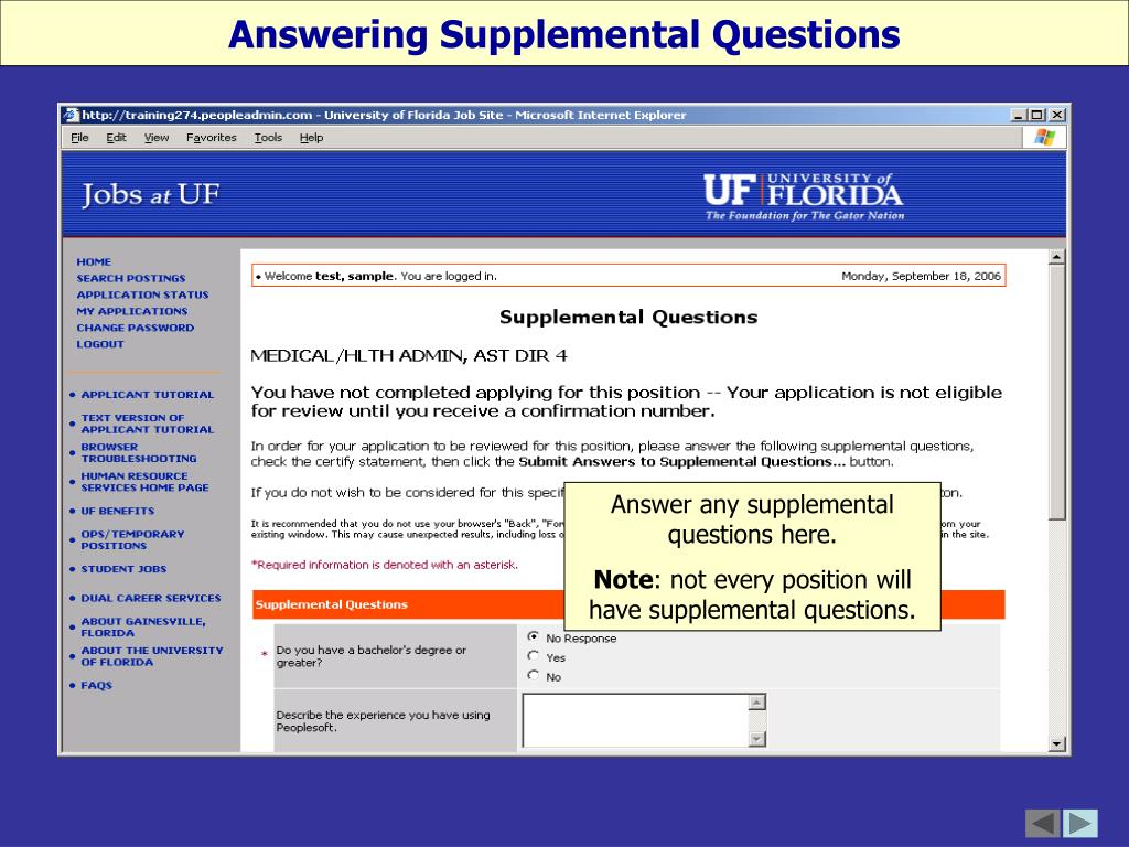 Answering Supplemental Questions
