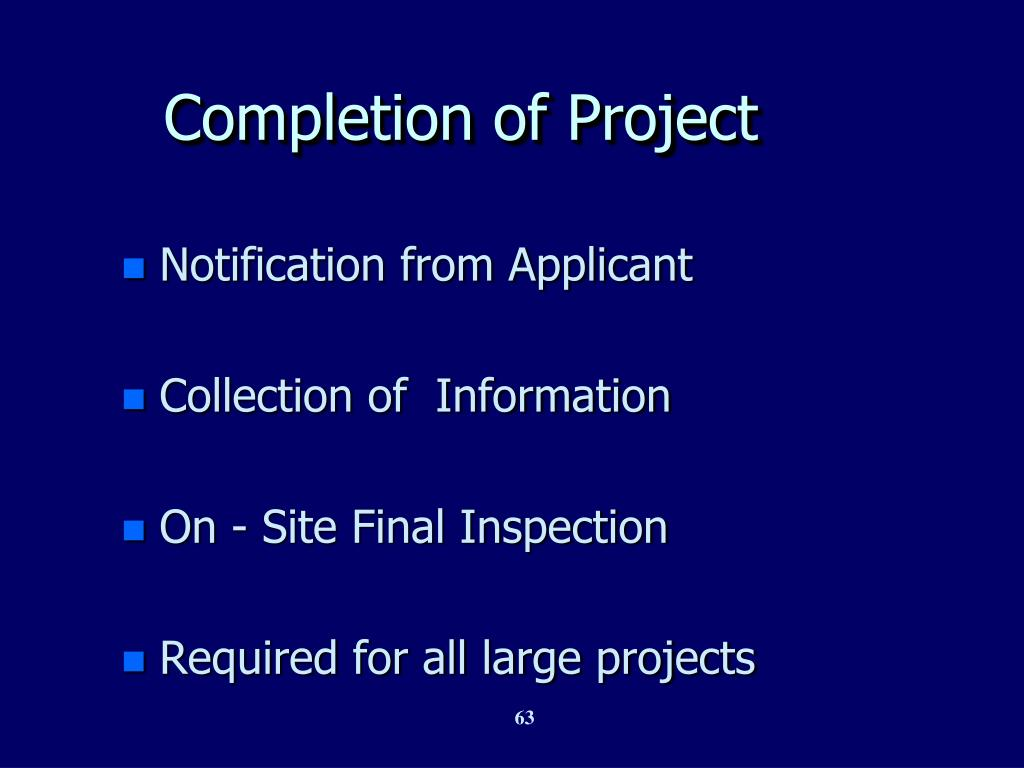 Completion of Project