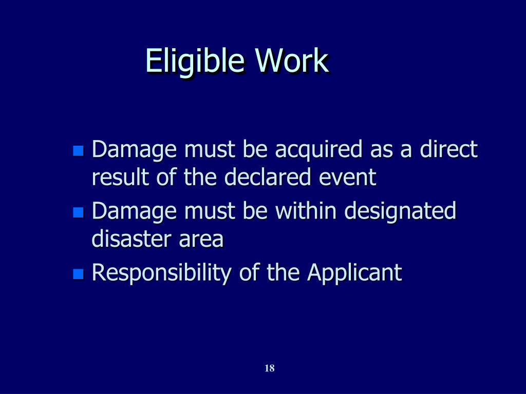 Eligible Work
