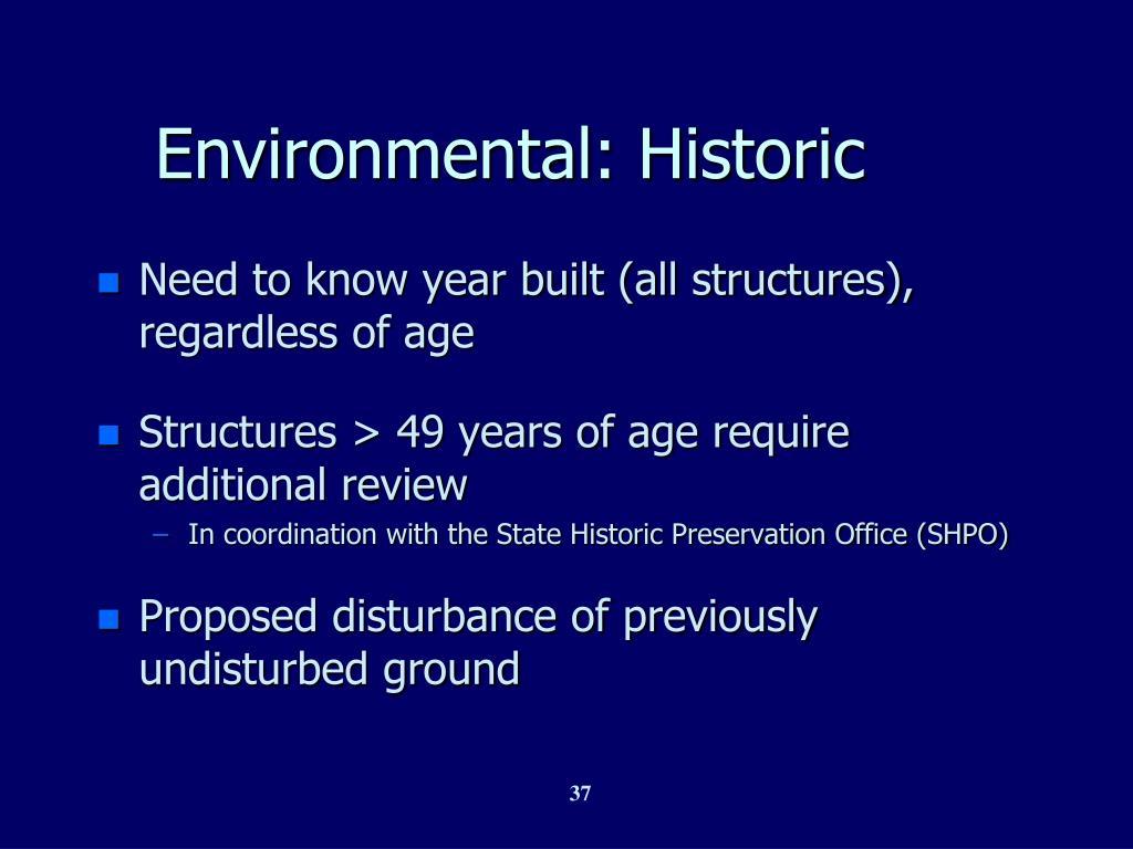 Environmental: Historic