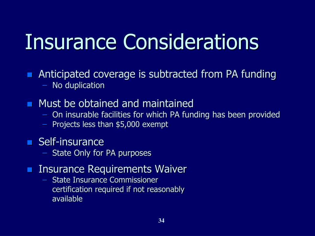 Insurance Considerations