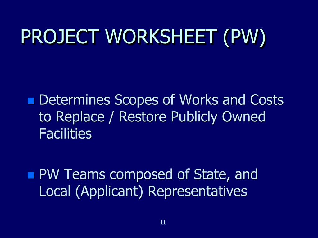 PROJECT WORKSHEET (PW)