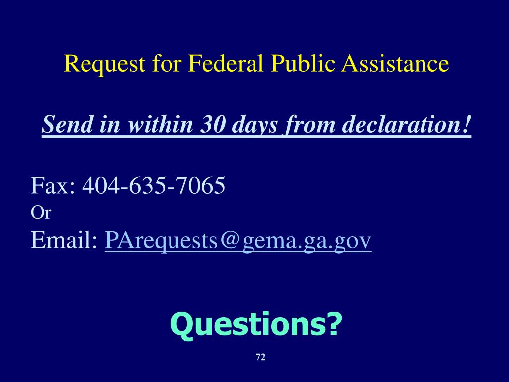 Request for Federal Public Assistance