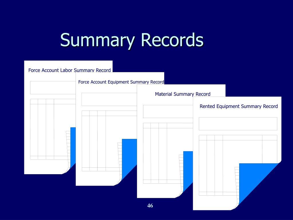 Force Account Labor Summary Record
