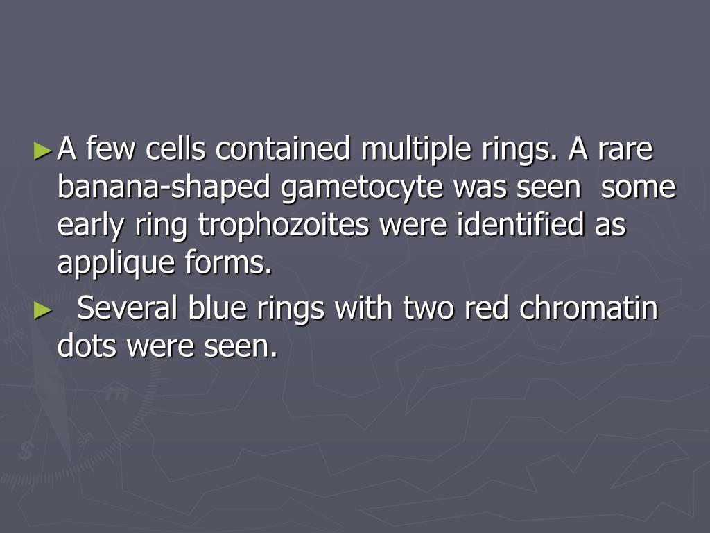 A few cells contained multiple rings. A rare banana-shaped gametocyte was seen  some early ring trophozoites were identified as applique forms.