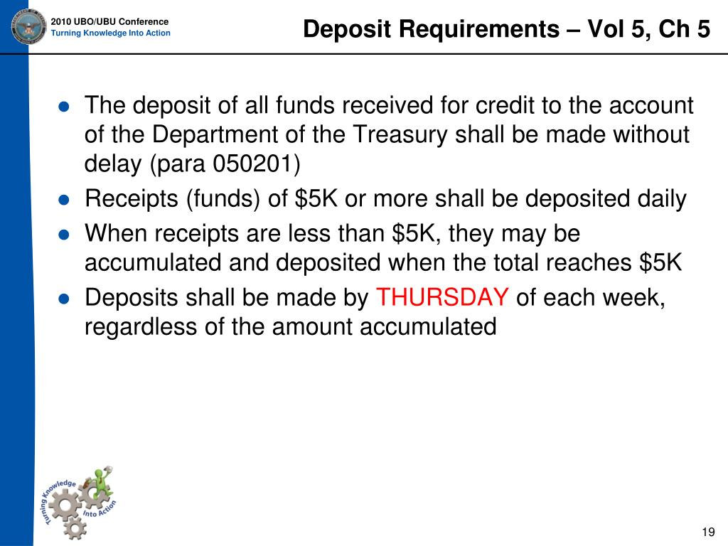 Deposit Requirements – Vol 5, Ch 5