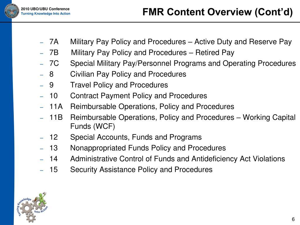 FMR Content Overview (Cont'd)