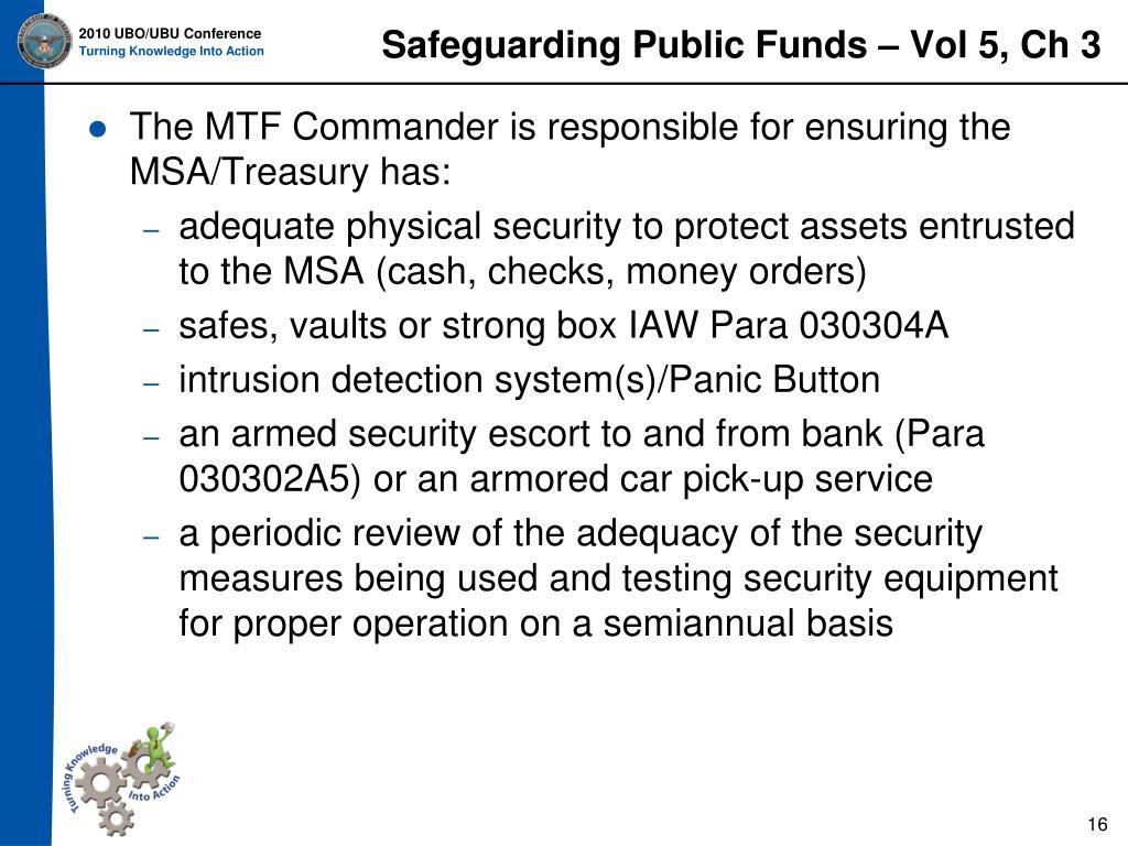 Safeguarding Public Funds – Vol 5, Ch 3