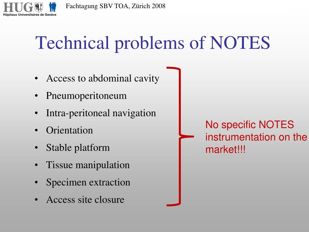 Technical problems of NOTES