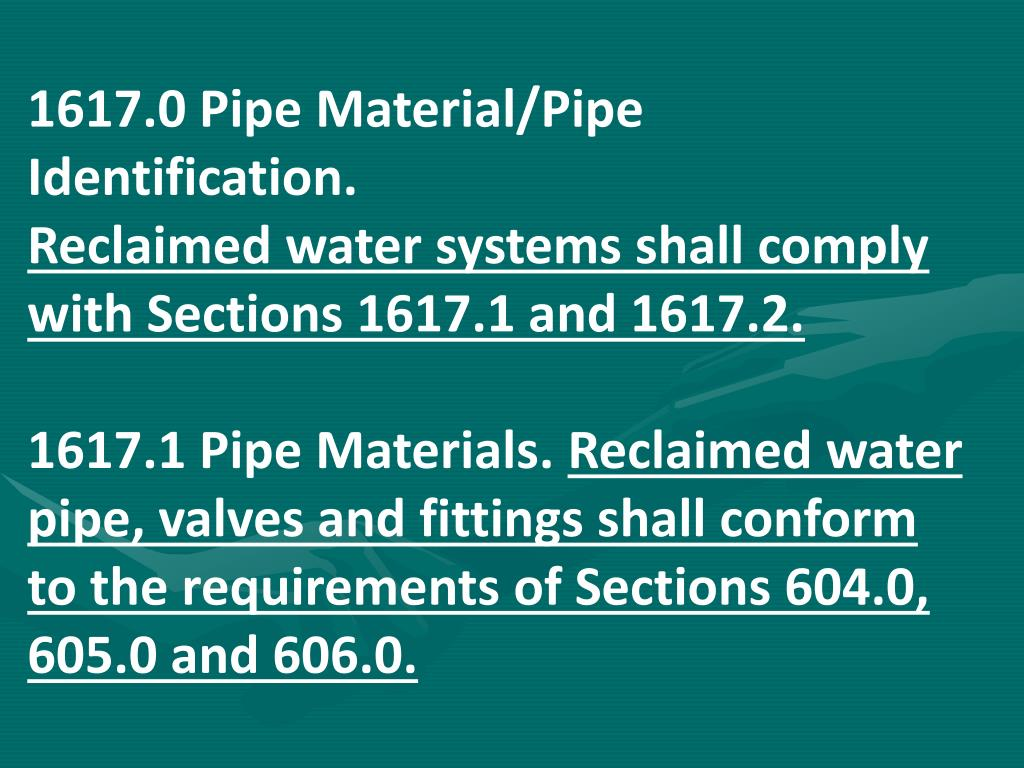 1617.0 Pipe Material/Pipe Identification.