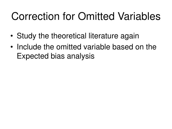 Correction for Omitted Variables