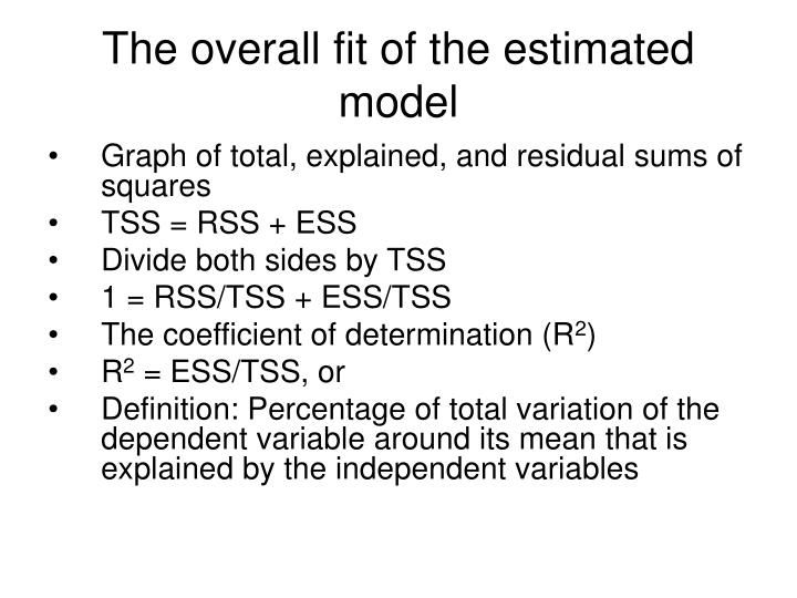 The overall fit of the estimated model